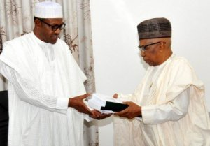 FILE PHOTO: PRESIDENT MUHAMMADU BUHARI RECEIVING THE REPORT OF THE APC TRANSITION COMMITTEE FROM THE CHAIRMAN, MALAM AHMED JODA AT THE DEFENCE GUEST HOUSE IN ABUJA ON FRIDAY (12/6/15)